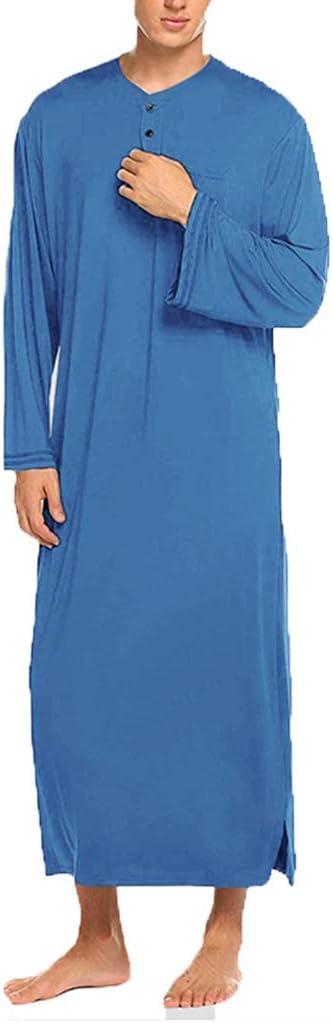 GaoYunQin Men's Robe Nightshirt Luxury Comfortable, Long Bathrobe Lightweight ice Silk Sleepwear (Color : Blue, Size : XXX-Large)
