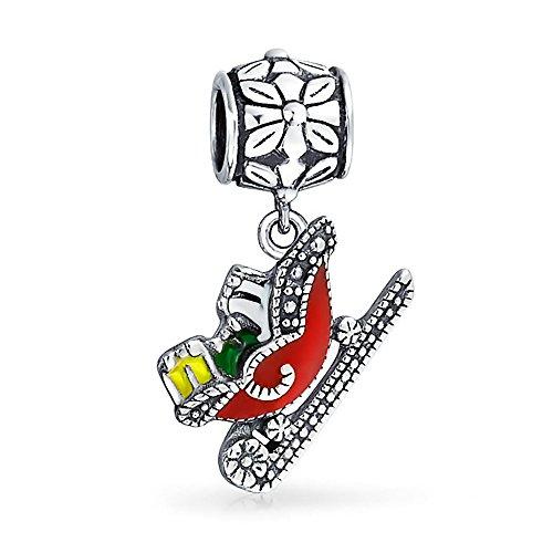 Bling Jewelry Urlaub Baumeln Weihnachten Rot Weihnachtsmann Schlitten Charme Perle Für Frauen Für Teen 925 Sterling Silber Für Europäische Armband