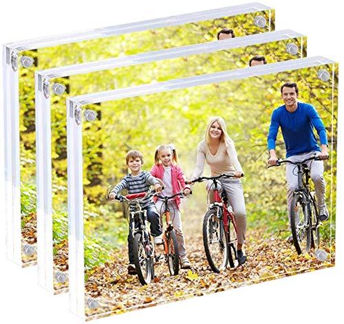 Display4top Transparenten Acryl Magnetische Bilderrahmen,Acryl doppelseitigen Bilderrahmen,Desktop Rahmenlose Fotoanzeige (13x18 cm - 3er Pack)