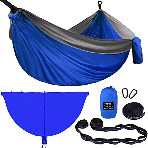 Gold Armour Camping Double Hammock with Mosquito Net Set (Removable) - Double Parachute Hammock USA Based Brand Lightweight Adults Kids, Camping Accessories Gear (Blue & Gray)