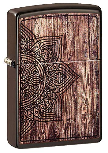 Zippo Unisex-Erwachsene Wood Mandala Design Brown Matte Pocket Classic Lighter, braun, One Size