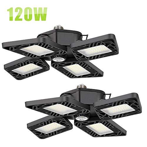 120W LED Garage Lights,12000 Lumens Super Bright Garage Ceiling Lights with 4 Adjustable Panels, Easy-Installation 6000K Deformable Bay Lights for Basement, Workshop, Barn, Warehouse(2 Pack)