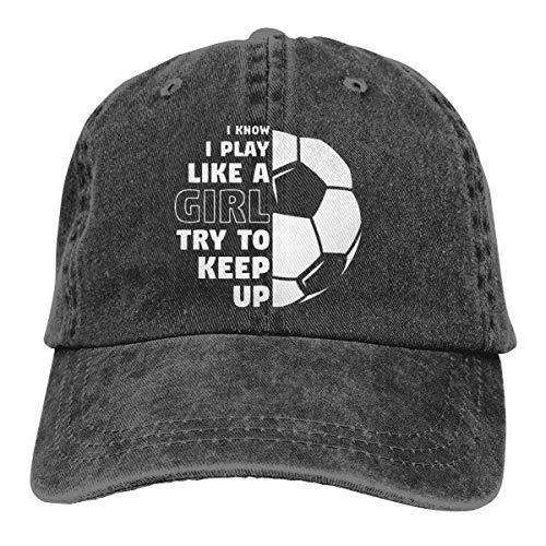 Nuwcense Vintage Baseball Cap I Play Like A Girl Soccer Herren Damen Sommer Sonnenhut Trucker Cap Schwarz