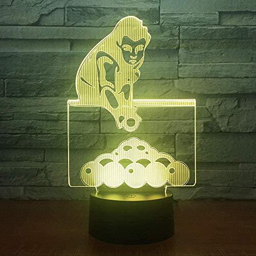 3D-Lampe Illusion Spielen Billard Pools Snooker LED Nachtlicht Touch-Schalter und eine Fernbedienung 7-Farben-Konvertierung Tischlampe mit USB-Kabel für Kinderzimmer Geschenk
