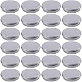 Hulless 1 Ounce Aluminum Tin Jar Refillable Containers 30ml Aluminum Screw Lid Round Tin Container Bottle for Cosmetic,Lip Balm, Cream, 24 Pack.