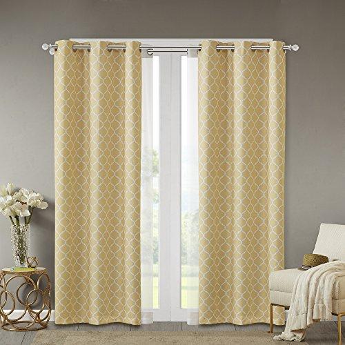 Comfort Spaces - Windsor Yellow Ogee Printed Window Curtain Pair / Set of 2 Panels - 42x95 inch panel - Blackout Room Darkening - Grommet Top - 2 Pieces