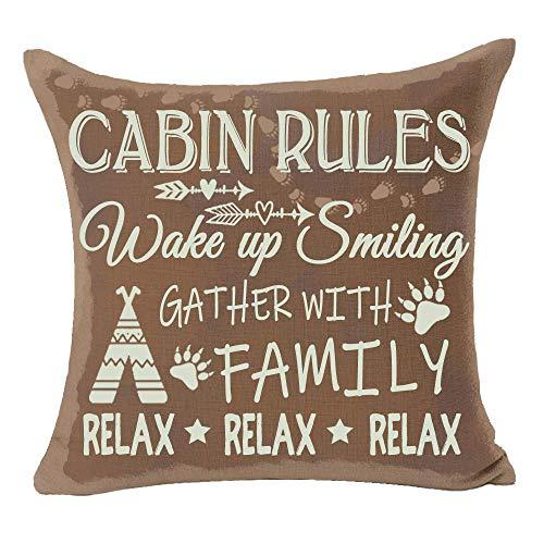 Belle10Bob Cabin Rules - Funda de cojín decorativa de lino y algodón para sofá, 45,7 x 45,7 cm