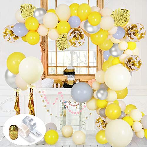 SPECOOL 70 Piezas Decoracion Cumpleaños Kit de Guirnalda de Globos Arch, Feliz Cumpleaños con Globos Metálicos Plateados, Amarillos, Grises y Confeti, Además de Hojas de Palma Plateadas