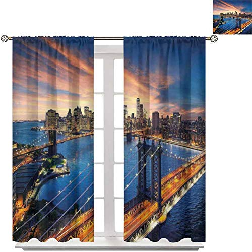 Pattern Curtains W84 x L84,Living Room and Bedroom Multicolor Printed Curtain Sets Landscape,American City Sunset Over Manhattan and Brooklyn Bridge Cityscape Picture Print,Gold Navy
