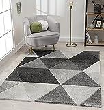 the carpet Monde - Tappeto moderno per soggiorno, morbido pelo corto, effetto profondo, taglio contornale, motivo triangolare, 120 x 170 cm, colore: Grigio crema