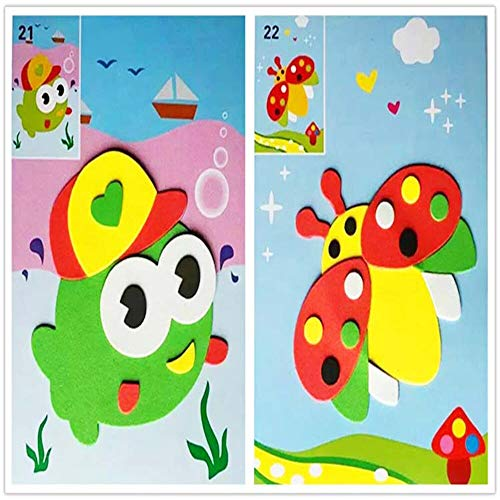 BLOUR Designs 3D Eva Mousse Autocollant Bricolage Puzzle Artisanat à la Main bébé Montessori Apprentissage éducation Jouets pour Enfants 3-6 Ans 2 pcs