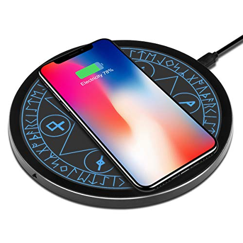 OLAHO ワイヤレス充電器 魔法陣充電器 置くだけ充電 急速充電 5W/7.5W/10W iPhone 11/11 Pro/11 Pro Max/XS MAX/XR/XS/X/8, Galaxy Note 10/Note 10 Plus/S10/S10 Plus/S10Eに対応 無線 充電器 魔法 ワイヤレスチャージャー