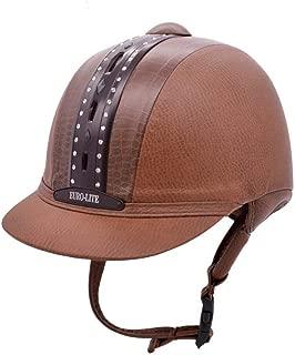 UNISTRENGH Horse Riding Helmet Classical Retro Western Equestrian Leather Look Helmets Low Profile Vintage Schooling Performance Helmet
