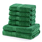 DecoKing Marina - Juego de toallas de baño (algodón, 525 g/m², absorbentes), verde, Set 4x 50x100 + 2x 70x140