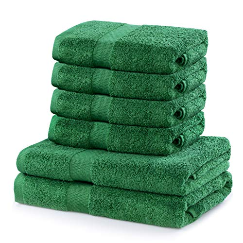 DecoKing 6er Set Baumwolle Qualität 525g/m² 4 Handtücher 50x100 cm und 2 Badetücher 70x140 cm grün saugfähig Marina