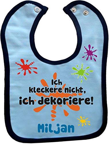 Baby Lätzchen mit farbigen Saum ICH KLECKERE NICHT, ICH DEKORIERE (hellblau-navy)