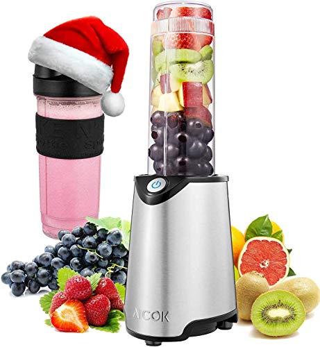 Aicok Mini Standmixer, Smoothie Maker mit zwei BPA-freie Tritan-Trinkflasche, 300 W, Edelstahl