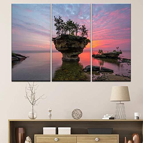 SYLSBAZGYS 5 Paneles Pinturas en Lienzo Sunset Beach Sea Wave Imagen de Paisaje Marino Ocean Reef Posters Lienzo de Arte de Pared para Sala de Estar Decoración del hogar Sin marco-30x60cmX3
