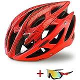 大人サイズ、CPSC安全認定 - - 快適な、軽量、通気性で成形された追加の保護のためにスケルトンを強化してエアフローバイクヘルメット (Color : Red, Size : L(58-62))