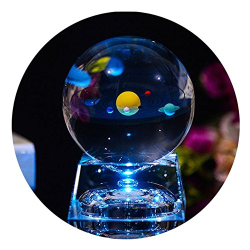 3D Crystal Ball with Solar System model and LED lamp Base, Clear 80mm (3.15 inch) Solar System...