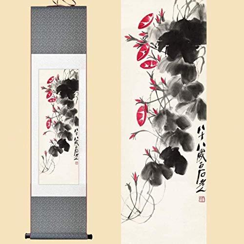 Pergamino chino Estilo chino acuarela seda chino Qi Baishi Petunia gloria de mañana Chinese ornaments tinta mesa de arte enmarcada foto del damasco el rodillo de pintura sobre lienzo 30X100Cm Pintura