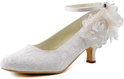 ZHRUI Les Les dames Bas Talon Chaussures de mariée en Dentelle Classique de Mariage avec des Fleurs (Couleuré   Ivory-5cm Heel, Taille   4 UK)