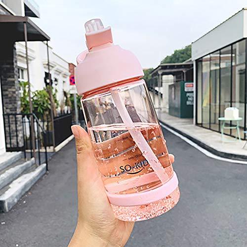WEIXINMWP 550/850 / 1000ml Botella de Agua con Botellas de Deportes de Paja a Prueba de Fugas niños ecológicos con Tapa de Senderismo Camping plástico BPA Gratis,Rosado,1000ml