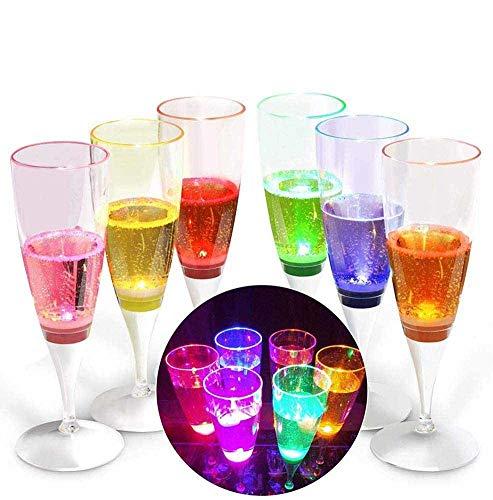 ZALA 6 Stück LED Sektgläser,Leuchtende Weingläser,Kunststoff Sektkelche,durch Flüssigkeit Aktivierbar Champagnergläser für Geburtstagsfeier und Hochzeit