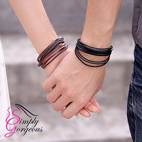Fine corde de tresse tissée à la main Multilayer Bracelet unisexe - Noir et Brun