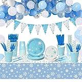 Set Suministros Fiesta Copo Nieve con Platos, Tazas, Servilletas, Tenedores, Cuchillos, Pa...
