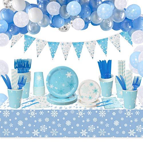 Set Suministros Fiesta Copo Nieve con Reutilizable Platos,Tazas, Servilletas, Tenedores, Cuchillos, Pajitas, Mantel, Bandera, Fiesta Congelada y Decoración Fiesta Princesa Nieve para Niños Cumpleaños