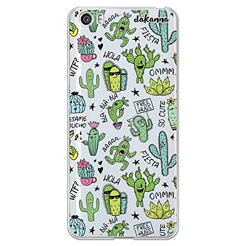 dakanna Funda Compatible con [Xiaomi Mi5 / Mi 5] de Silicona Flexible, Dibujo Diseño [Pattern Divertido de Cactus y Frases], Color [Fondo Transparente] Carcasa Case Cover de Gel TPU para Smartphone