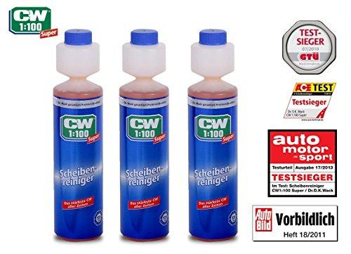 PRAKTISCHES SET 3 x 250 ml CW1:100 SUPER Dr WACK PREMIUM SCHEIBENREINIGER KONZENTRAT für Scheibenwaschanlagen / Scheinwerfer-Reinigungsanlage