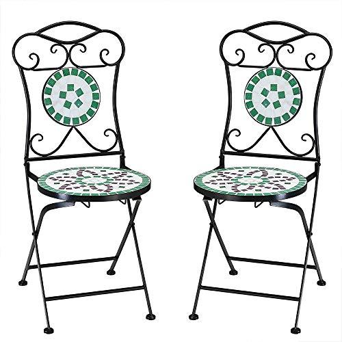Deuba Set de 2 Sillas Mosaico Flora Juego de Asientos de cerámica Plegables 36x45x94cm para jardín