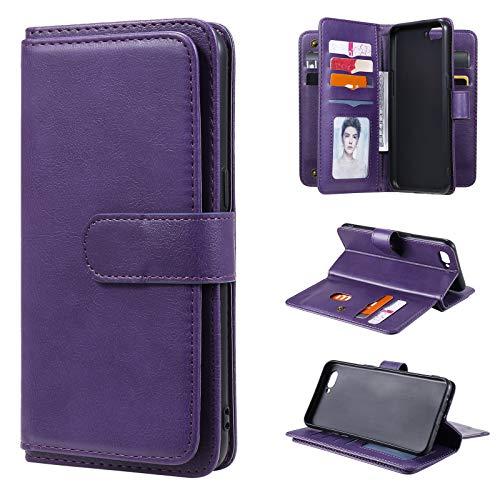 Snow Color Oppo A3S / A5 (AX5) / Realme 2 Hülle, Premium Leder Tasche Flip Wallet Case [Standfunktion] [Kartenfächern] PU-Leder Schutzhülle Brieftasche Handyhülle für Oppo A3S - COKT020364 Violett