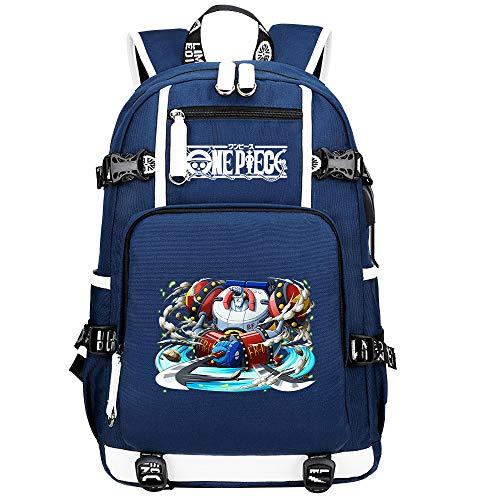 ZZGOO-LL One Piece Monkey·D·Luffy/Franky Anime Cosplay Bookbag College Bag Mochila Mochila Escolar con Puerto de Carga USB-C