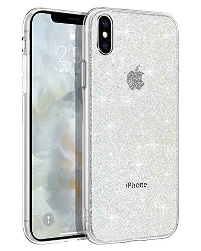 BENTOBEN iPhone XS Hülle Handyhülle Glitzer, iPhone XS Hülle Slim Glitzer Anti Gelb Silikon Bumper Cover Ultra dünn Hülle für iPhone X/iPhone XS 5.8 Zoll Bling Transparent