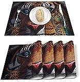 Tavolo Mate Set di 4 Tovagliette in poliestere resistenti alle macchie in poliestere Totem tigre Cartone animato Tovaglietta lavabile Decorazione per tavolo da pranzo in cucina Retro