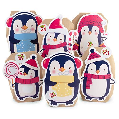 Adventskalender zum Befüllen Pinguin 24 Kraftpapiertüten braun Geschenktüten Weihnachten, Weihnachtskalender Bastelset inkl. Zahlenaufkleber, Accessoires und Klammern von pajoma