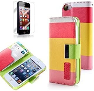 TCD for Apple iPhone 5 5S 5G Colorful [Pink Yellow RED] Stylish Color Block Case Pu Leather Wallet Case with Credit Card Slots [Includes Free Screen Protector and Stylus Pen]