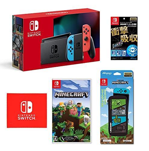 Nintendo Switch 本体 (ニンテンドースイッチ) Joy-Con(L) ネオンブルー/(R) ネオンレッド Minecraft (マインクラフト) - Switch (【Amazon.co.jp限定】オリジナルマイクロファイバークロス 同梱) 【任天堂ライセンス商品】Nintendo Switch専用液晶保護フィルム 多機能 Nintendo Switch専用スマートポーチEVA マインクラフト 4キャラクター