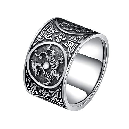Aienid Ringe Männer Rocker Chinesische Mythische Tiere Ring Azurblauer Drache Ring für Männer Size:60 (19.1)