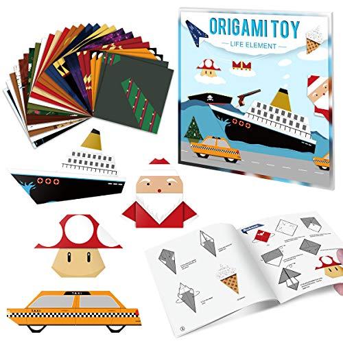 PAPERKIDDO Papel de origami 104 hojas por kit con 13 proyectos y...