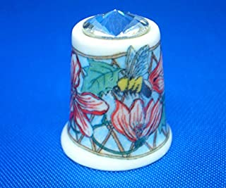 Porcelain China Collectable Thimble - Bee on Flower with Swarovski Crystal -- Free Gift Box