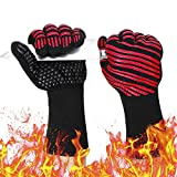932℉ Extreme Heat Resistant Gloves, Silicone Oven Mitts for Kitchen - High Heat BBQ Gloves for Grilling, Large Oven Gloves for Men, Long Grill Gloves for Cooking, Grilling Mitts (Normal, Red)