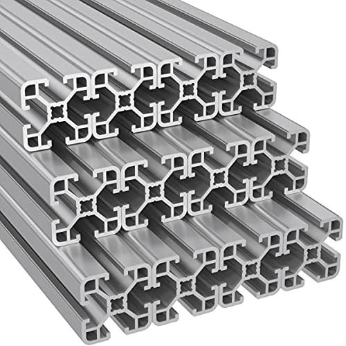 Ulber24- Aluprofil 40x40 Nut8 Typ I,12x2m=24m Aluminium- Konstruktion- Montage- System- 4040 Alu Schiene Stecksystem Vierkant Profil I-Typ Nut 8 Winkel