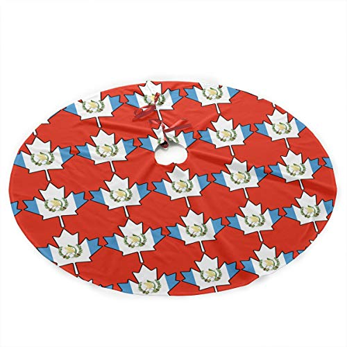 35.5' Christmas Tree Skirt - Guatemalan Flag Canada Maple Leaf-1 Xmas Tree Skirt Party Holiday Decorations