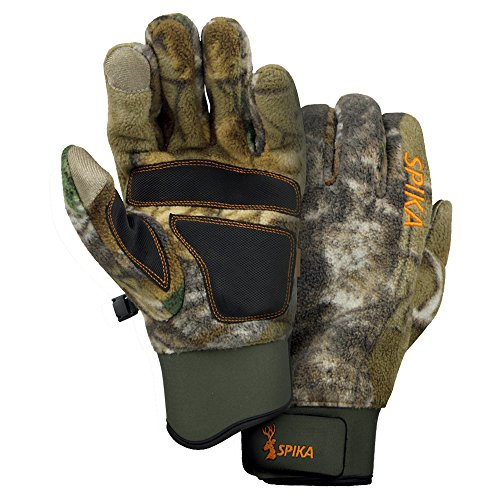 SPIKA Camouflage Tactical Hunting Fleece Gloves with Sure Grip Palms and Touchscreen Compatibility L-XL