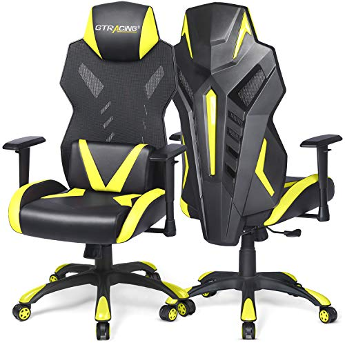 GTRACING Gaming Chair Racing Style Office Chair High Back Computer Desk Chair Ergonomic Swivel Chair - Adjustable Seat Cushion & Headrest- Breathable Mesh Back - Yellow (1 Pack)