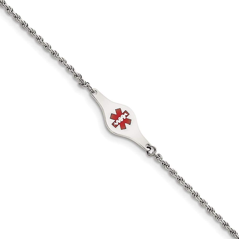 Sterling Silver Now on sale Rhodium-plated Medical Chicago Mall ID 8in Link Rope Bracelet